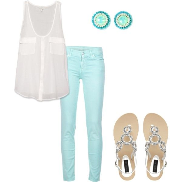 love the blue: Colored Pants, Casual Outfit, Skinny Jeans, Style, Blue Jeans, Spring Summer, Summer Outfits, Mint Jeans, Colored Jeans