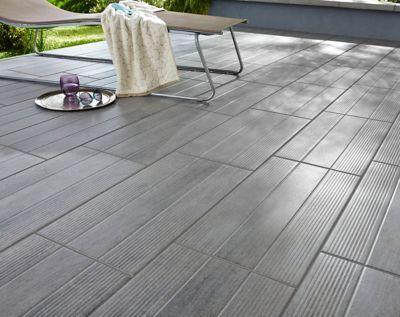 Carrelage extérieur Stripe wood gris 30 x 60 cm (vendu au carton)   Castorama en 2020 ...