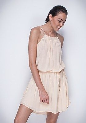 Our 'Electra' Dress casts a sweet silhouette with a loose flowy feel. A higher neck line at the front, thin straps and a gathered waist line, this dress is a must for spring. Wear this fun dress to sunday lunch with a cute pair of flats. Available in Pale Apricot and Taupe. AUD $149.90 | #buddhawear #womensfashion