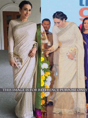 Thankar Off White Thread Work Georgette & Net Bollywood Designer Saree Bollywood Sarees Online on Shimply.com