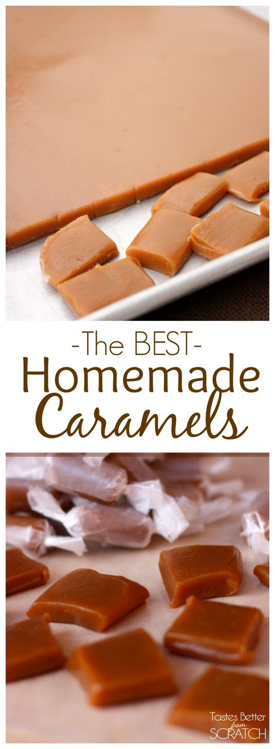The BEST (and easiest!) Homemade Caramels Recipe! We give these as neighbor…