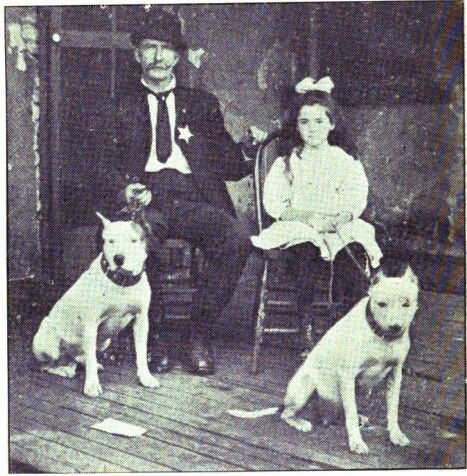 Cheif Lucky Bill & his daughter with Jeff & Biddie He not only bred game pit dogs but also police dogs