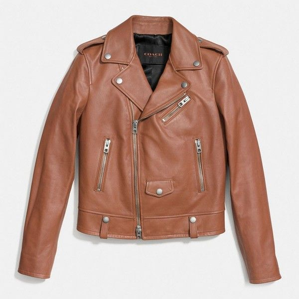 Coach Icon Moto Jacket (3,230 PEN) ❤ liked on Polyvore featuring outerwear, jackets, brown, zip jacket, leather biker jacket, brown motorcycle jacket, leather jacket and zipper jacket
