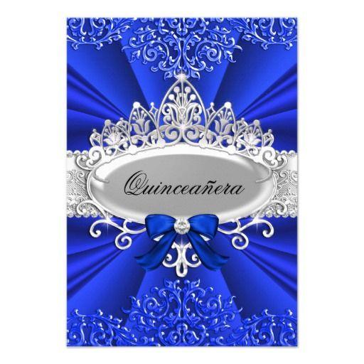 Blue Tiara & Damask Quinceanera Invite Invitations
