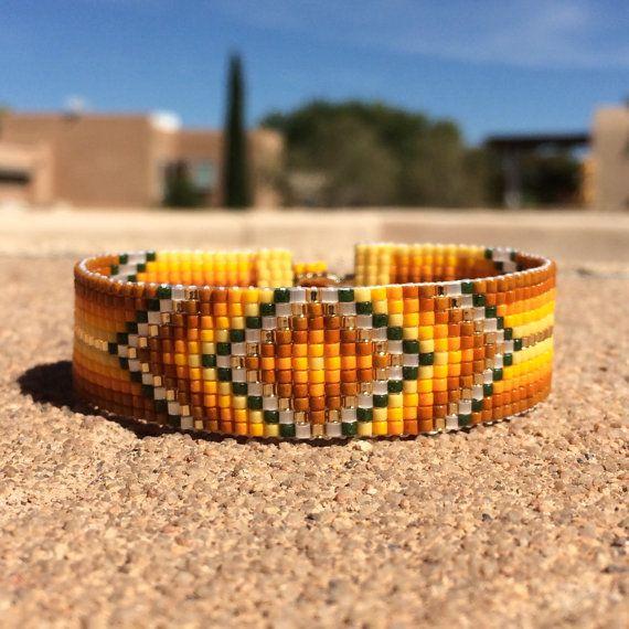 Citrine Vibe Bead Loom Bracelet Bohemian Boho Chic Gifts for Her Artisanal Jewelry Western Bead Native American Inspired Southwestern