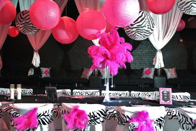 zebra pink and white decorations | Zebra & Hot Pink Birthday Party Ideas | Photo 18 of 24 | Catch My ...