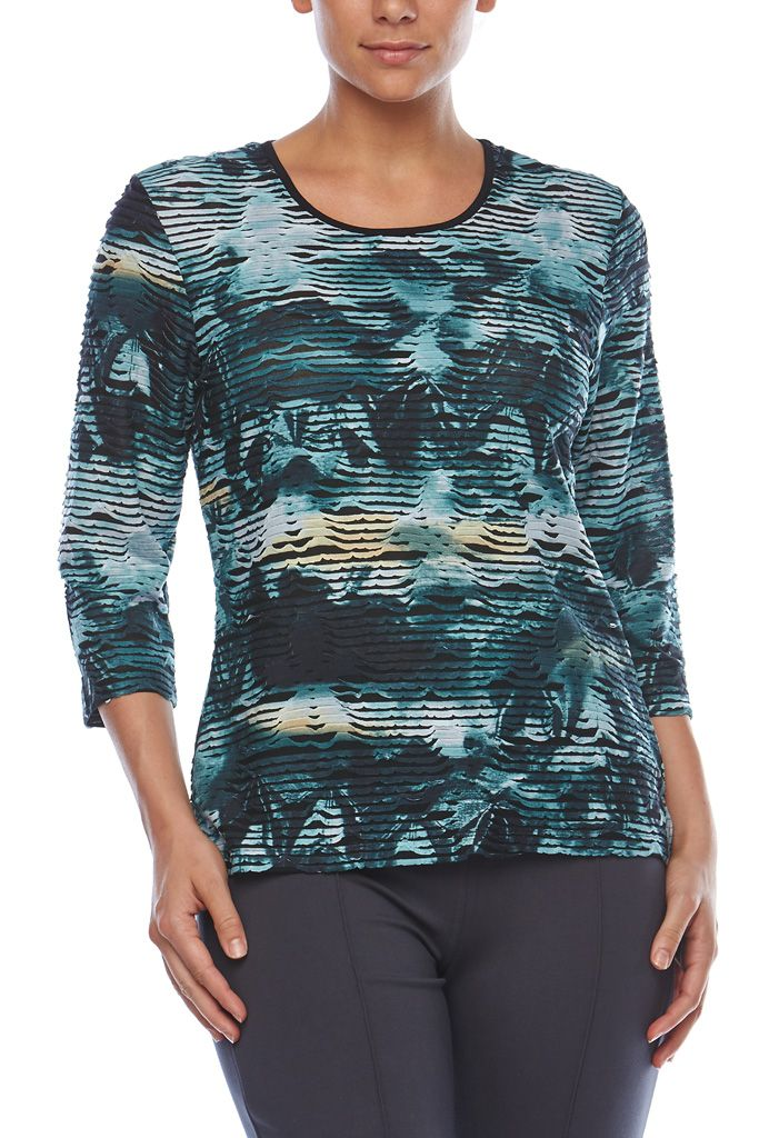 3/4 SLEEVE PRINT TOP Achieve fabulous style in this stunning Noni B top. Its simple round neck, 3/4 sleeve cut is easy to wear & suits everyone, while the unique textured design all over adds a contemporary edge. Balance yours with a simple pencil skirt or black pants.