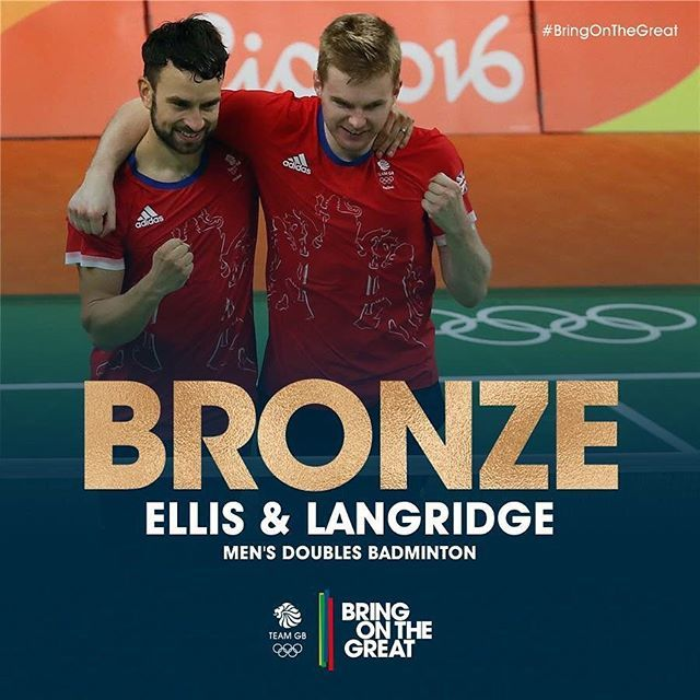 #Bronze! Get in! Chris Langridge and Marcus Ellis storm through the deciding set, taking it 21-10 and bagging themselves Men's Doubles Olympic Bronze medals. Amazing play, congratulations! #BringOnTheGreat #TeamGB #Badminton