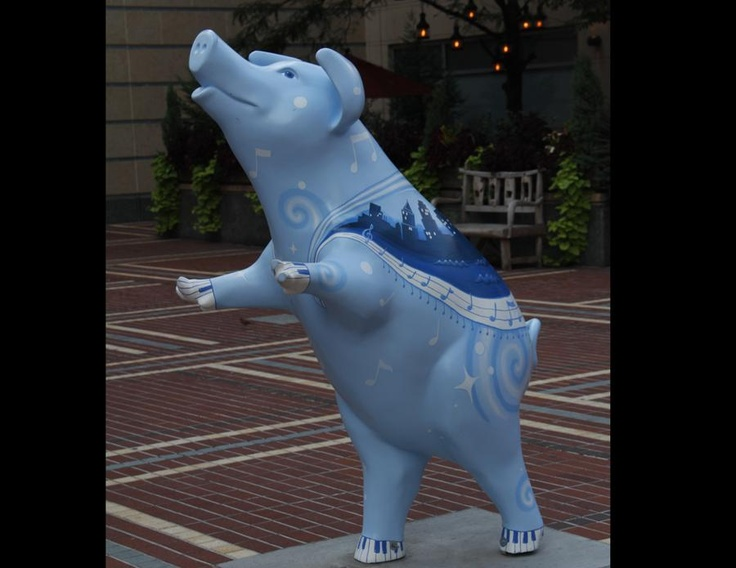 "Name: ""Wrap-Sow-Dy in Blue""  Location: Aronoff Center for the Arts  Designer: J.K. Starin  Sponsor: C-Change Class Six"