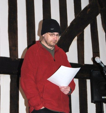 Me, reading a ghost story in Leicester's Guildhall