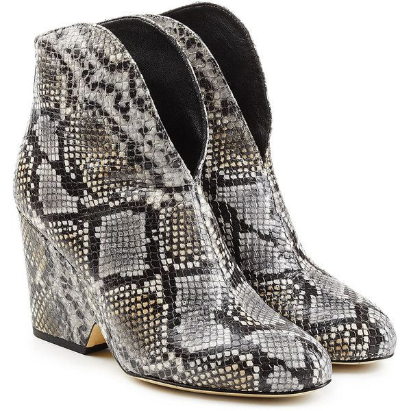 Diane von Furstenberg Snake Embossed Leather Ankle Boots ($325) ❤ liked on Polyvore featuring shoes, boots, ankle booties, beige, leather wedge booties, leather wedge boots, wedge booties, leather ankle boots and beige ankle boots
