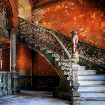 Staircase in the Old Building/ Entrance to La Guarida Restaurant, Havana, Cuba, Caribbean Photographic Print