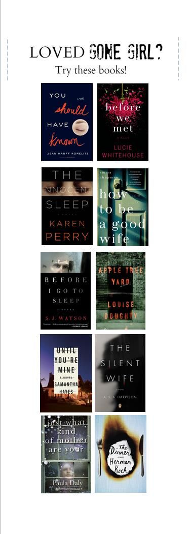 Still haven't found a book you like as much as Gone Girl? Try these 10 suspense novels! Visit our catalog: http://catalog.clcohio.org/polaris/search/default.aspx?ctx=24.1033.0.0.4&type=Default