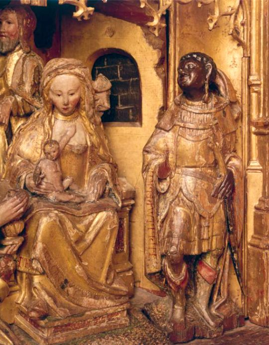 Anonymous (Antwerp)    Scenes from the Life of the Virgin: Adoration of the Magi    Belgium (c. 1515)    Polychrome Wood (attached ronde bosse), 260 x 239 cm.    Bruxelles, Musée royaux d'Art et d'Histoire.    The Image of the Black in Western Art Research Project and Photo Archive, W.E.B. Du Bois Institute for African and African American Research, Harvard University