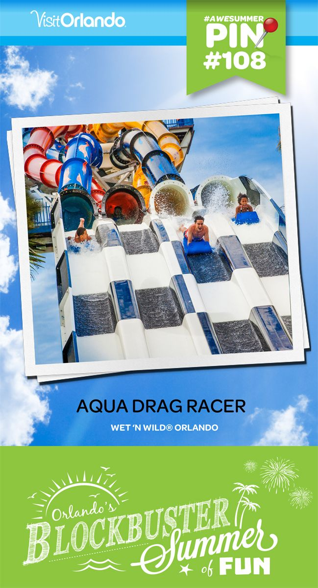 "Take your place at the starting line and prepare for a turbo-charged adrenaline rush the whole family can share. The all-new Aqua Drag Racer is a four-lane race where you'll go head-to-head as you accelerate head first down 350 feet of wickedly twisting track. From the first downhill burst, you'll know you've unleashed a whole new breed of speed! Height Requirement: 42"" #awesummer #wetnwild #orlando #aquadragracer #waterpark"