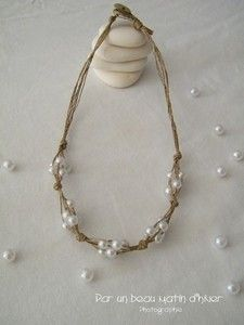 Image of Collier ficelle de lin & perles nacre fantaisies