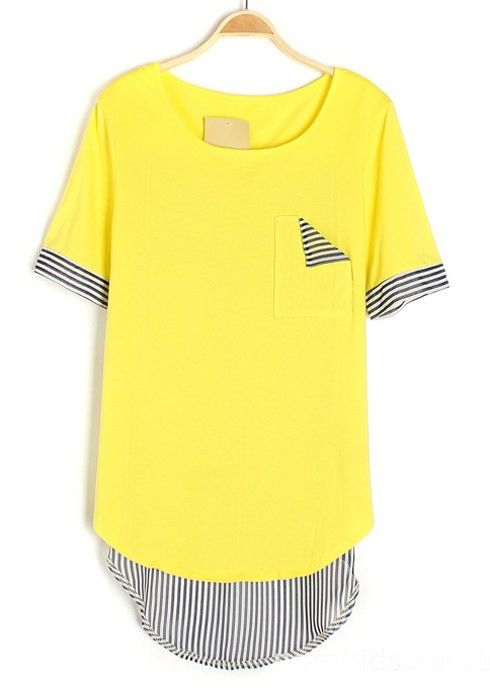 ++ Yellow Patchwork Striped Collarless Chiffon T-shirt
