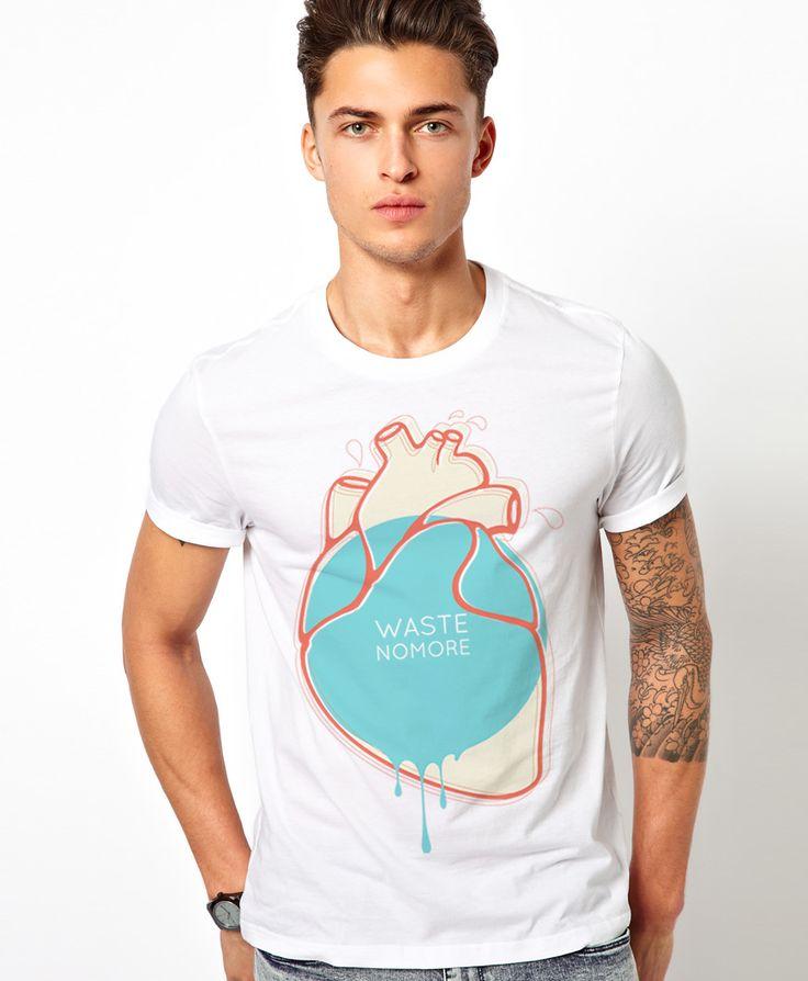 Waste No More, certified 100% organic t-shirt. #organic #ethical #popart #visual #vector #minimal #tshirt #teeshirt #tshirtdesign #heart #apparel #mensfashion #menstyle #white
