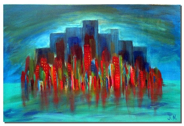 Cityscape #6, Acrylic on Canvas #joshnammpaints #art #visualarts #paintings #artists #abstract #abstractart #cityscape #midcentury #midcenturyart #acrylics #acrylicpainting