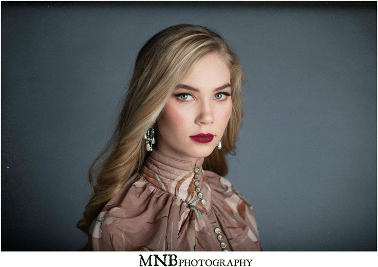 Makeup and hair by Cait Pierce. Photography by Maggie Bradshaw. Model is Sophia Bagget. #vintagemakeup #vintage #fashionphotography #neutrals #studioshoot #redlip