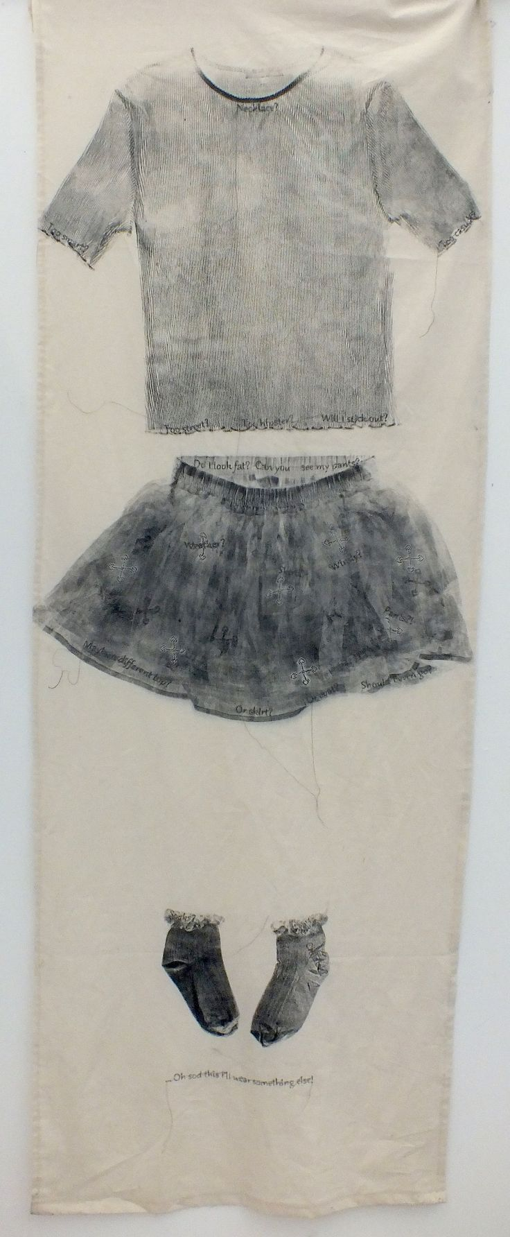 Ellie M - Monotype and Stitch -  1 of 3  - Truro College A Level Fine Art - Coursework Show 2017