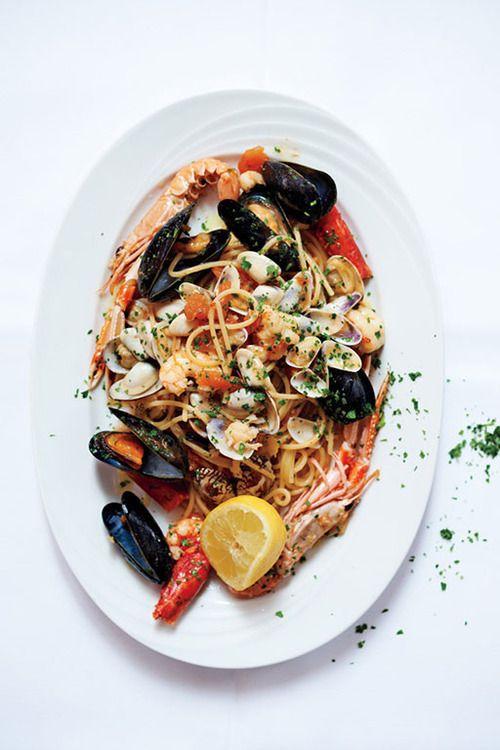 {Seafood pasta.}