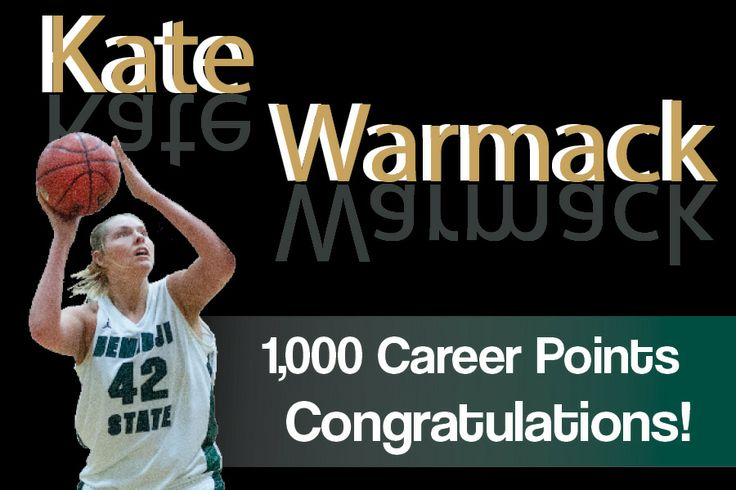 With 9:03 left in the 1st half, senior Kate Warmack recorded her 1,000th career point! 17th player in BSU program history to reach 1,000 career points. AND first player to ever total 1,000 points, 600 rebounds and 100 blocks in a career! Congrats Kate!