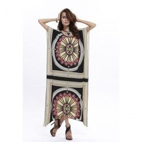 Retro Style Native American Boho Poncho Long Dress
