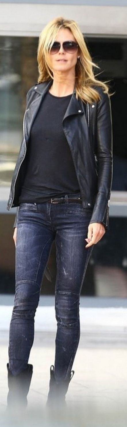 Who made Heidi Klum's black suede ankle boots, studded belt, and gray skinny…