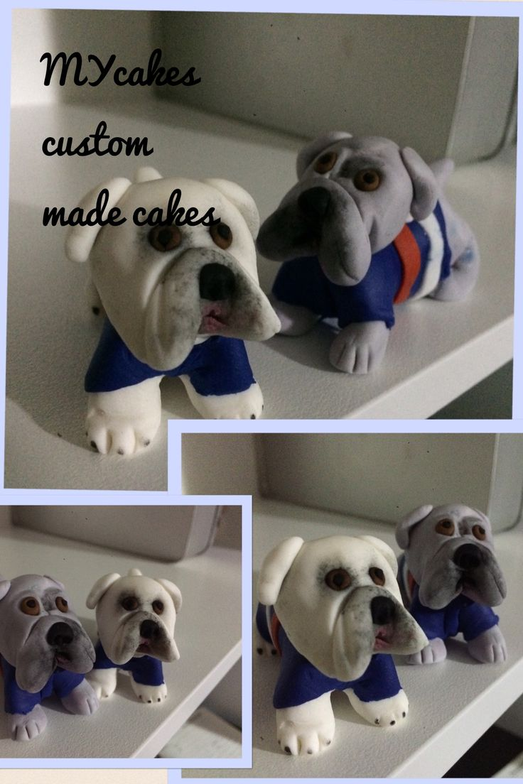Bulldog football mascot cake toppers