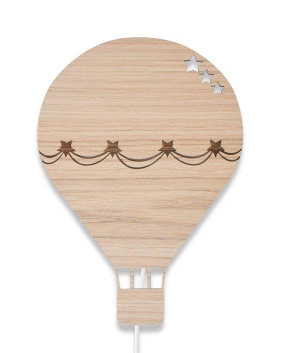 Luftballon lampe, lampe til børn, lampe til børneværelset, lampe i træ