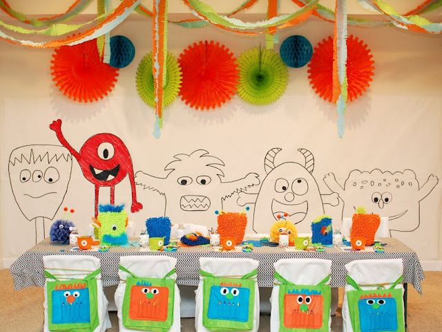Pretty much the cutest monster party I have ever seen--------with pin the eye on the monster, a draw it yourself monster mural, monster bags, and the best numbers made out of tissue paper fringe!