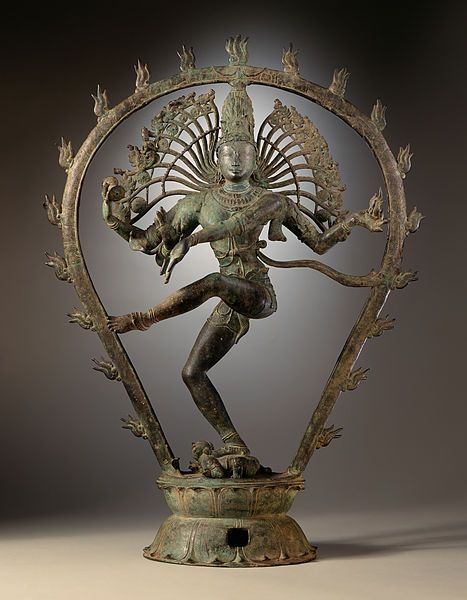 This cosmic dance of Shiva is called 'Anandatandava,' meaning the Dance of Bliss, and symbolizes the cosmic cycles of creation and destruction, as well as the daily rhythm of birth and death. The dance is a pictorial allegory of the five principle manifestations of eternal energy — creation, destruction, preservation, salvation, and illusion.