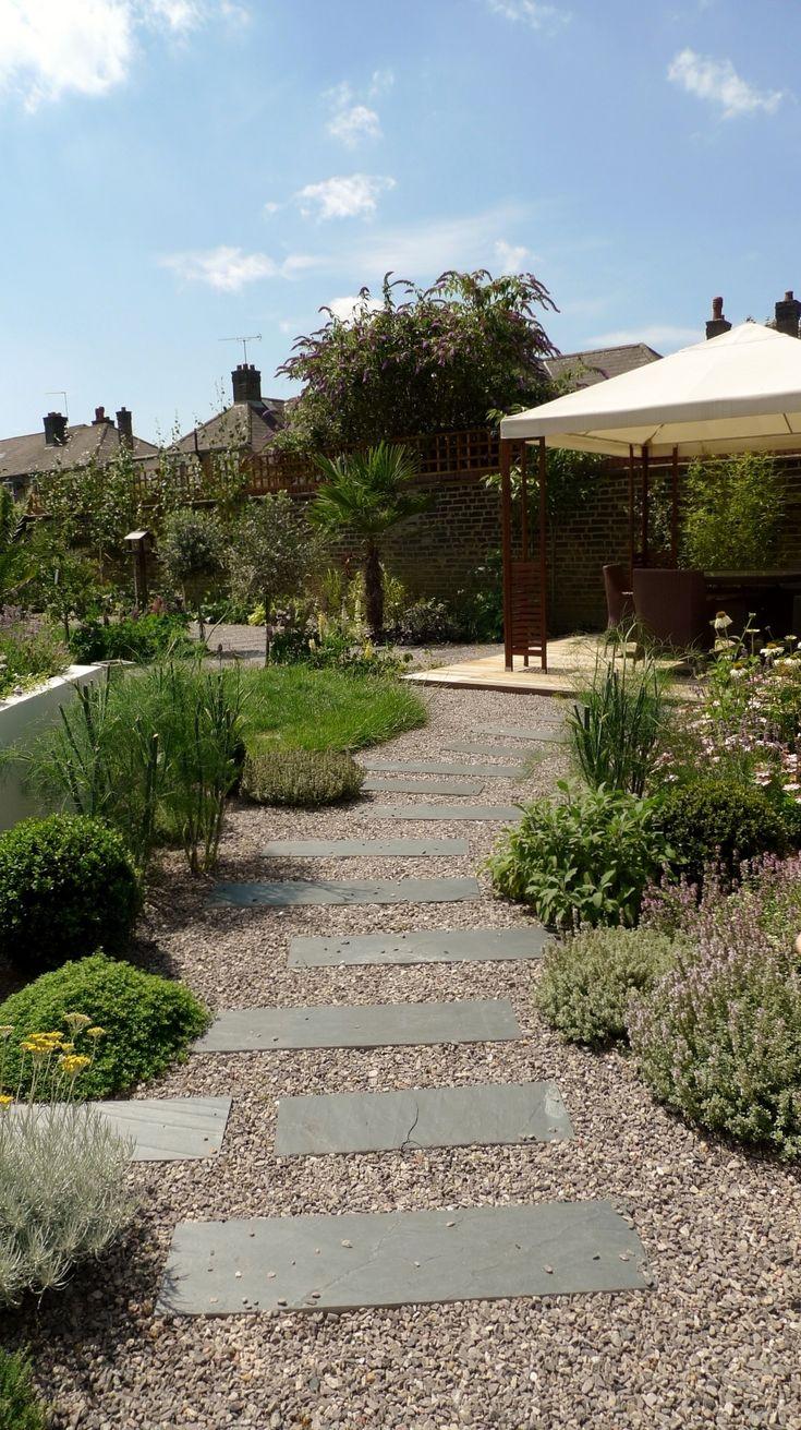 large modern garden design earlsfield south west london artificial grass hardwood screens balau decking slate paving patio mature planting (3)