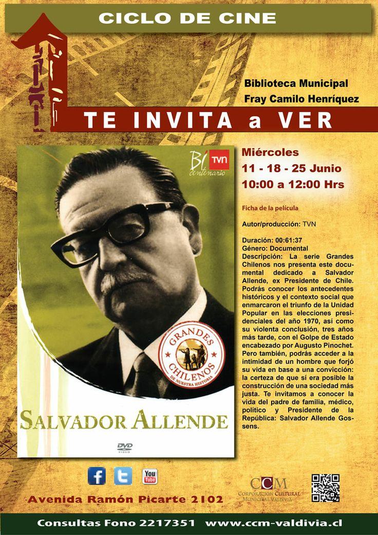 Junio,  Salvador Allende. Los colegios interesados deben coordinar sus visitas en el segundo piso de la Biblioteca Municipal o al fono 2217351, con el encargado Sandro Beltrán.