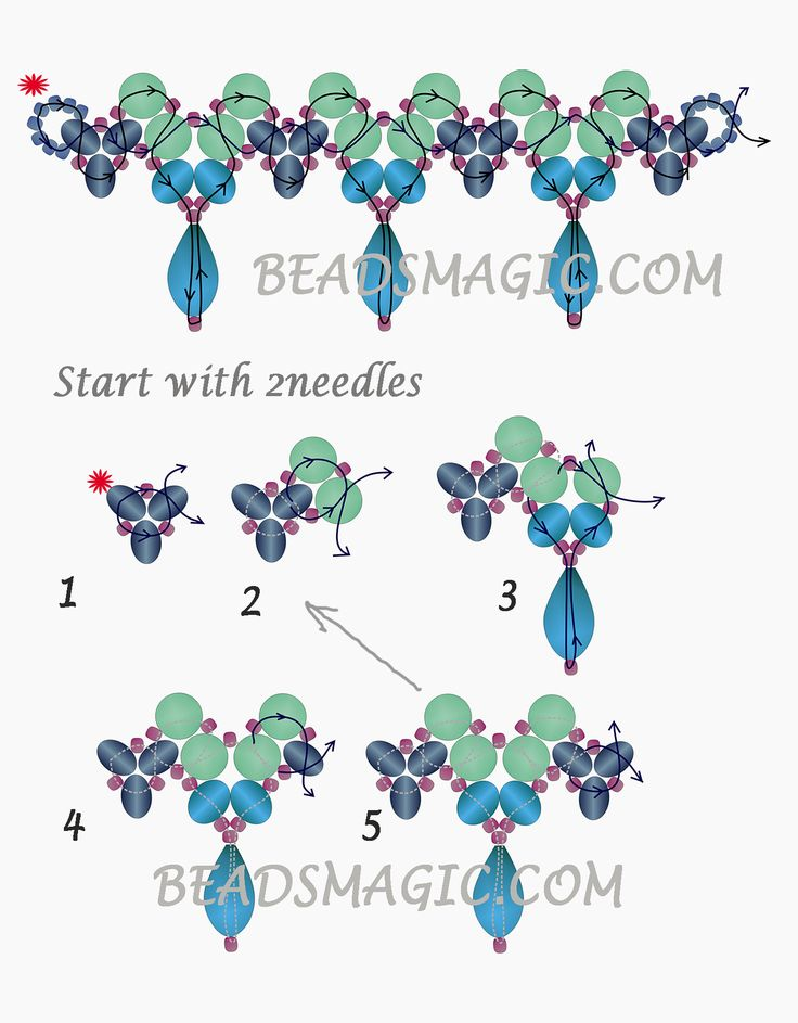 Necklace Lina , Beads Magic - 2 --- U need Pearls, 6 mm, Rondelles 6 mm, Crystal Drops and Seed beads 11/0