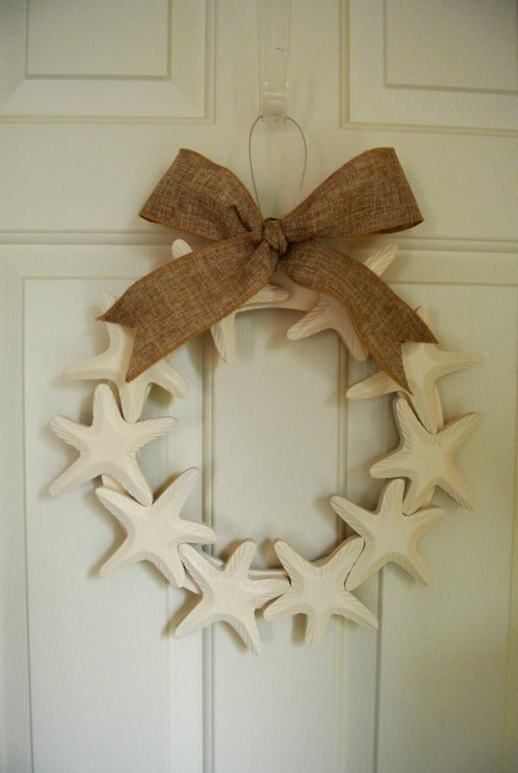 Starfish Wooden Wreath with Burlap ribbon - beach house decor - beach decor - starfish decor. $32.00, via Etsy.