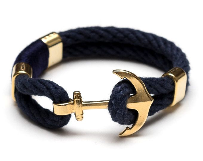 Our anchor bracelet is essential for any nautical lover! -Navy blue rope -Silver plated anchor clasp -Silver plated spacer bead -Wrapped thread detail  ****************************************************************** Sizing: If youre looking for a snug fit, we recommend ordering 1/2 larger than your wrist size (i.e. if your wrist measures 6.5, choose size 7). For a looser fit, 1 larger will do the trick.  If you need a size that is not listed, please choose Other and include it in the ...