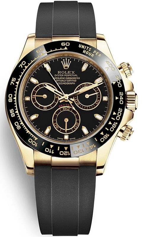 Rolex Oyster Perpetual Cosmograph Daytona 18k Yellow Gold Black Dial Rubber Strap 40 Mm Watch Reference 116518ln Luxury Watches For Men Watches For Men Rolex
