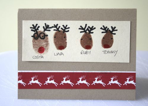 Adorable Christmas cards made with a thumbprint from each family member