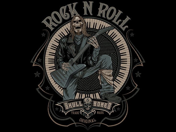 """«Rock n roll» Vector illustration. Artwork series of music. Illustration of the print for t-shirts. The client """"Reya"""" studio. The work is done in programs Adobe Illustrator."""