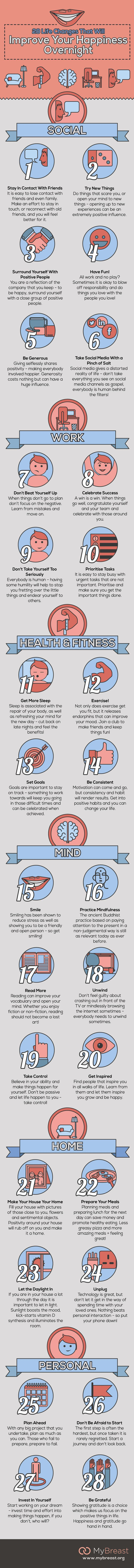 28 Life Changes That Will Improve Your Happiness Overnight #infographic #Health #Happiness