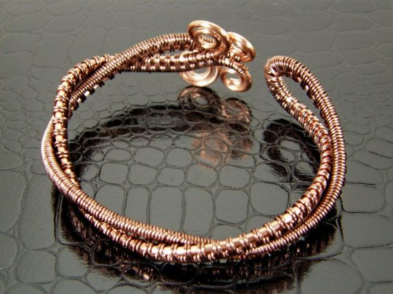 Wire Wrapped Copper Bracelet Handmade Copper by BonzerBeads, $29.00