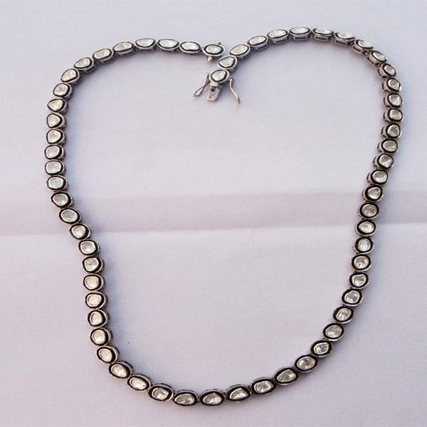 Polki 925 Silver Diamond Wedding Necklace