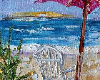 Silla de playa y paraguas pintura original aceite impresionismo abstracto arte empastes sobre tela por Karen Tarlton