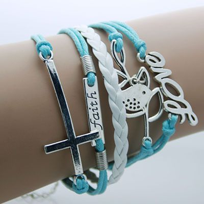 Armband blauw wit faith love kruis