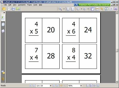 Free printable math flashcards ~ addition, subtraction, multiplication & division