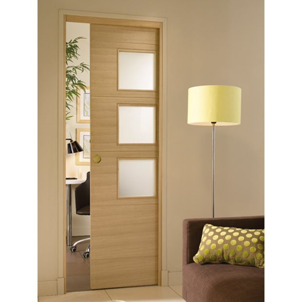 Porte coulissante encastr e el ments mobiliers home - Kit porte coulissante interieur ...