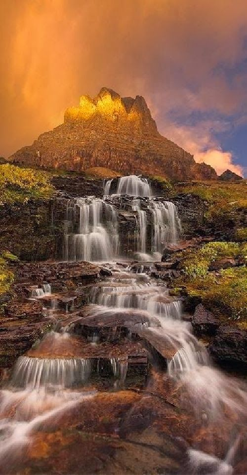 Dawn Waterfall, Clements Mountain, Montana (awesome pic but the green tint makes it look like a tornado is coming - take it from a Kansan!)