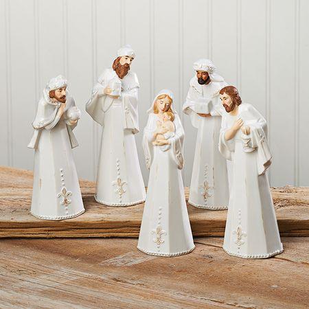 White Stoneware Nativity Set 5 Pieces